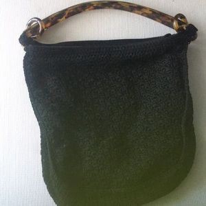 Crochet Black lined Purse